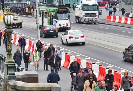 Temporary security barriers on Princes Bridge to protect against vehicle borne threats.