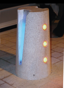 Visually appealing light bollard to protect against vehicle-borne threats and VBIED attacks.