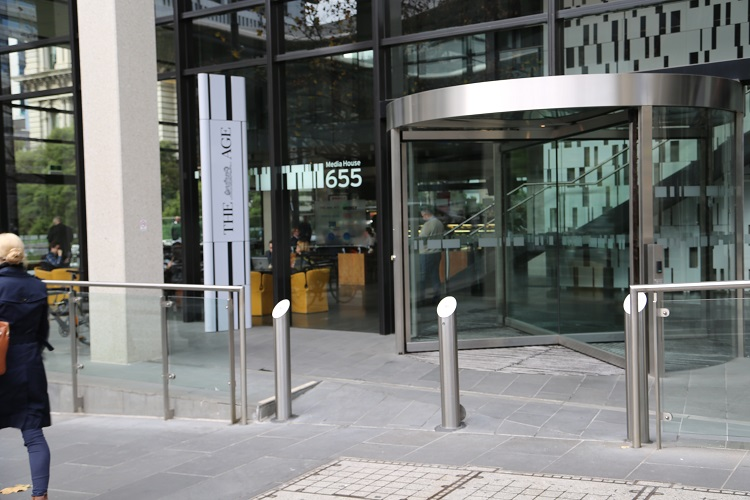 Stainless steel soft approach to hard security VBIED bollards at Media House.