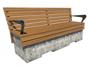VBIED rated concrete bench with backrest